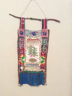 Your place to buy and sell all things handmade Fabric Brooch, Prayer Flags, Painting Leather, Quilted Wall Hangings, Leather Fringe, Recycled Fabric, Vintage Buttons, Third Eye, Wearable Art