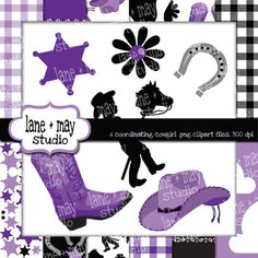 purple black and white cowgirl themed digital by laneandmay, $5.00