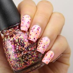 China Glaze - Glimmer More (shown here is two coats over China Glaze - Spring In My Step)