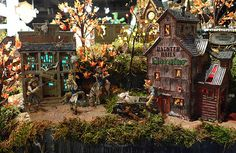 Department 56 Western Ghost Town Halloween Village houses and accessories.