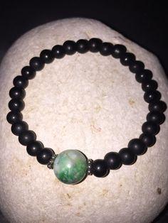 Unisex matte black beaded bracelet with semi precious stone by CustomBeadsByDani on Etsy