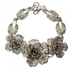 Miao Silver Rose Bracelet (China) | Overstock.com