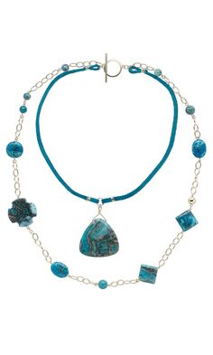 Jewelry Design - Double-Strand Necklace with Sky Blue Crazy Lace Agate Gemstone Beads, Gold-Filled Chain and Turquoise Leather Cord - Fire Mountain Gems and Beads