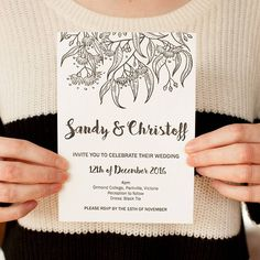 Perfect design for a backyard wedding. Illustrated Wedding Invitations, Botanical Wedding Invitations, Wedding Invitation Inspiration, Handmade Wedding Invitations, Letterpress Wedding Invitations, Wedding Stationery, Bush Wedding, Diy Wedding, Wedding Events