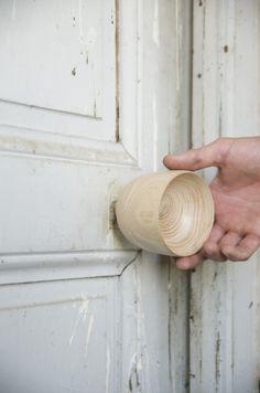 Beautiful door handles by Valentin Garal. XXY Door Handle series.  Ash turned wood.