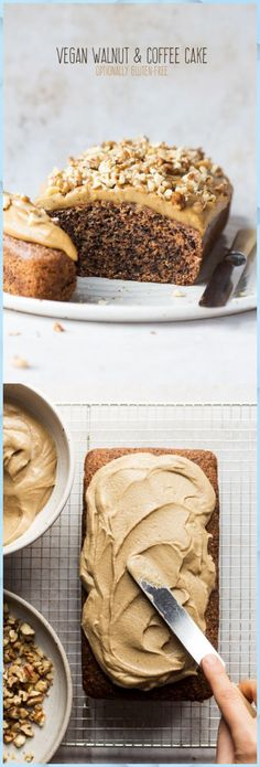 Vegan coffee walnut cake - Lazy Cat Kitchen - - Vegan coffee walnut cake is easy and quick to make, moist and delicious. It will make coffee and nut affectionados very happy indeed. It can be gluten-free. Coffee And Walnut Cake, Coffee Cake, Coffee Icing, Coffee Bread, Food Cakes, Vegan Dessert Recipes, Cake Recipes, Bread Recipes, Brunch Recipes