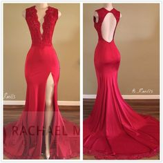 720aa4af3b7 Scalloped V Neck Open Back Fit and Flare Prom Dress with Split Sexy Party  Dress