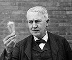 "THOMAS EDISON ... The Wizard of Menlo Park ... brilliant, prolific, inspired, practical inventor ... incandescent electric light bulb ... phonograph ... motion picture camera... kinetoscope... carbon microphone ... electricity distribution system ... fluoroscope ... two-way telegraph ... stock ticker ... & much more ... changed the course of history ... ""I have not failed. I've just found 10,000 ways that won't work"" ... ""Genius is one percent inspiration and ninety-nine percent…"