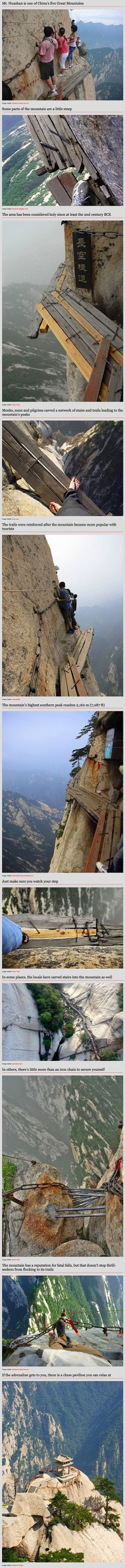 As wonderful as Chinese tea is, it is definitely not something you'd closely associate with exhilaration, adrenaline and the fear of death. Mt. Huashan in China, however, manages to bring all of these things together by featuring a death-defying cliff-side mountain climb that brings daring visitors to a tea house 2,160 m (7,087 ft) up on the mountain's southern peak.