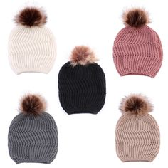 ee222dd52a7 Baby girl Knitted Wool Hemming Pom-Pom Hat  fashion  clothing  shoes
