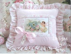 Pink  Cupid & Doves Vintage  Style Romantic  Ruffled Sachet Pillow Pink Metelasse Designs By Lynn-pink, roses, shabby, chic, ruffles, Victorian, Vintage, Lynn, Barkcloth, PINK,