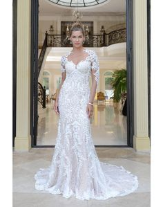 All-over beaded lace fit and flare gown. Scalloped hem lace and lace  illusion 7e2d007da194