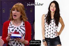 """Bella Thorne as Cece Jones wears this Lipstick top similar to this Nasty GalLipstick Muscle Tee, in this weeks episode of Shake it Up, """"Opposites Attract it Up""""."""
