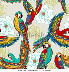Vintage, colorful background with parrots, theme and exotic beach holiday, fashion seamless pattern, vector wallpaper, graphic birds fabric for design - stock vector