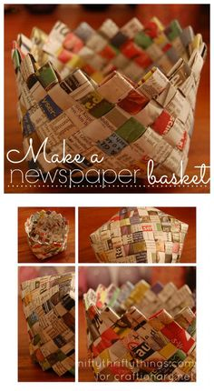 How to make a paper basket with newspaper? With the help of this tutorial you can make recyclable DIY paper basket using newspapers around the house. - Crafts All Overpaper basket Reminds me of Mom Chewing Gum Wrapper ChainGuest post- Paper Basket - Fun Crafts, Diy And Crafts, Crafts For Kids, Arts And Crafts, Crafts Cheap, Kids Diy, Decor Crafts, Newspaper Basket, Newspaper Crafts
