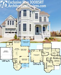 Architectural Designs Exclusive Victorian House Plan 30085RT gives you 3 beds, 2.5 baths and over 2,600 sq. ft. of living including a great space over the garage. Lots of photos. Ready when you are. Where do YOU want to build?