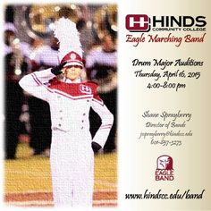 2015-2016 #HindsCC Drum Major Auditions will be held April 16. #drummajor