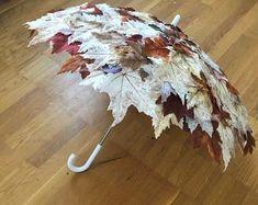 Fall Foliage Umbrella Autumn Leaves Umbrella Made to Order Floral Umbrellas, Umbrellas Parasols, Canopy Weights, Umbrella Decorations, Umbrella Wedding, Yellow Umbrella, Bride Accessories, Deco Table, Fall Crafts