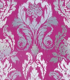 New Ikat Wallpaper (DW1566/01/001) - Kandola Wallpapers - A beautiful stylised damask in a distressed effect with stunning Swarovski crystals making this paper very elegant. Shown in fushia pink with grey and white detail. Please request a sample for true colour match and to truly appreciate this paper. This is a paste the wall product. Wide width