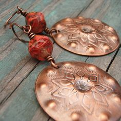 Copper Concho Earrings with Red Czech Glass Beads by melissamanley, $30.00