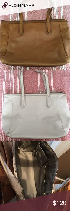 2 for 1 Fossil Shoppers! Brown and white shopper by Fossil. You get both for the price of one!!! Near perfect combination and condition! Fossil Bags