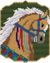 Carousel Horse Bead Pattern.   Great as an amulet bag, necklace or mini tapestry.  Graph provided in color code mode with list of delicas needed, thumbnail and finishing ideas.