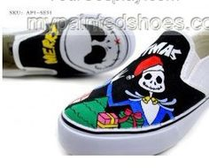 Punk Rock Style Hand Painted Slip-on Canvas Shoes,Low-top Painted Canvas Shoes
