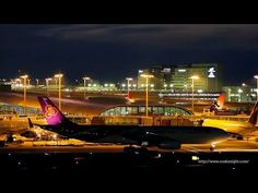 [HD]関西国際空港 航空機特集 夜景 Airplanes at Kansai International Airport Osaka Japan - YouTube