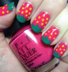 Delicious Strawberry Nails...cute little girl style!! Must try on Hailey.