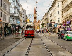 Riding Tram No.49 Vienna Austria, Street View, Scene