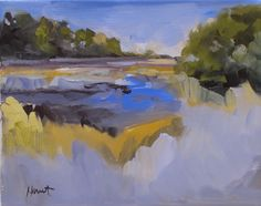 abstract realism, landscape, South Carolina, southern landscape salt marsh' Salt Marsh Near Edisto II' by LInda Hunt 8X10