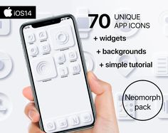 70 Premium App Icons - Neomorph edition - iPhone iOS14 - Customisable Apple Homescreen + 5 pic. widgetsmith + 18 backgrounds + Tutorial Music Clock, Screen Icon, Phone Books, Instagram Background, The Computer, Custom Icons, Iphone 10, User Interface Design, Etsy App