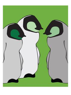 Baby Penguins in Green - Posters av Avalisa på AllPosters.se