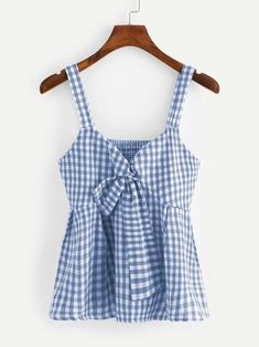 To find out about the Plus Gingham Tie Front Shirred Cami Top at SHEIN, part of our latest Plus Size Tank Tops & Camis ready to shop online today! Cami Tops, Fashion Clothes, Fashion Outfits, Trendy Clothing, Stylish Outfits, Plus Size Tank Tops, Woman Outfits, Ladies Dress Design, Fashion News