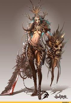 LAMASHTU, déesse des la folie, des monstres et des cauchemars. chaos/duperie/folie/force/mal Cimeterre à deux mains CM