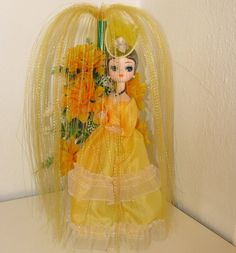 Vintage Yellow Bradley Big Eyed Doll In the Golden Shower  scooterbugrevival