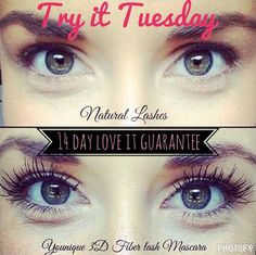 Try-It Tuesday! With Younique's Love It Guarantee, you can shop without worry. Give your lashes new life and try 3D Fiber Lashes a try for 14 days - if you haven't fallen in love by then, return it!