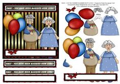 OMG You Have Been Married How Long Fun Decoupage Card  on Craftsuprint designed by Elaine Sheldrake - A humourous tongue in cheek sheet for decoupaged anniversary card fronts or for a quick card front. - Now available for download!