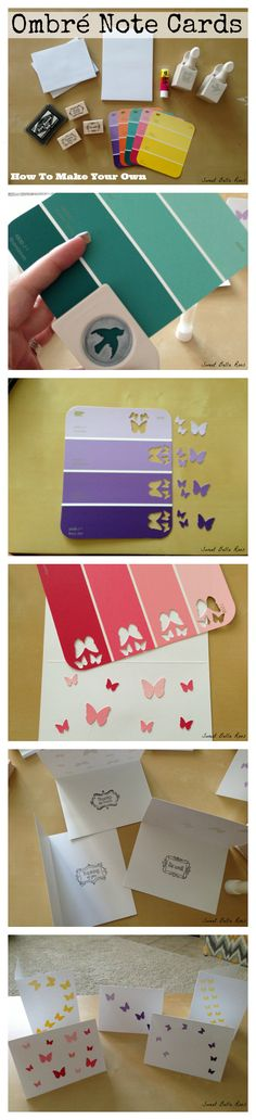 How to make ombré note cards using paint color samples and fun punches!