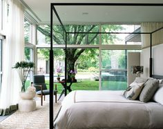 Bedroom - light and airy with access to the garden - glass walls - beautiful | McAlpine Booth & Ferrier Interiors