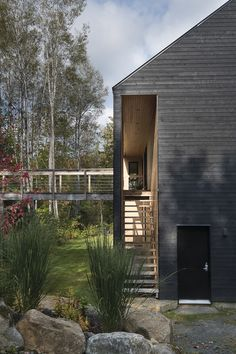 Twin Houses Reflect Contemporary Architecture and Interior Design – Contemporary Home Decor for 2020 Modern Architecture House, Architecture Details, Interior Architecture, Interior Design, Black House Exterior, Saint Sauveur, Zaha Hadid Architects, Forest House, Contemporary Home Decor
