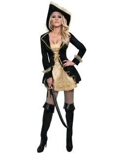 Black and gold coloured pirate costume for women: This pirate costume for women includes a dress and a hat. (Legging, boots and sword not included.)This pirate outfit will be ideal for wearing at your pirate themed fancy dress costume parties! Halloween Chique, Halloween Outfits, Halloween Costumes, Fancy Dress, Dress Up, Female Pirate Costume, Costume Noir, Pirate Woman, Steampunk Costume