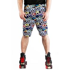 The Skate Sugar Skull Unisex Training Shorts  Our garments are professionally overlocked and handmade for all kinds of fitness ranging from Roller Derby, Basketball, MMA, Football and gym goers!  Our garments are sublimation printed onto top quality performance sports fabric, our prints designed in house so they are totally unique and our garments are handmade in the UK.  Materials: 100% polyester light weight 210gsm knitted eyelit performance sports fabric, draws moisture from the surface…