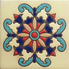 High relief tile 'Belinda' from Mexico is ideal for any indoor outdoor decor project. Use relief tile alone or combine them into creative mosaics. high relief tile dimensions are 3x3, 4x4 and 6x6 #myMexicanTile