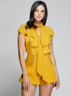 Modern Mix Up Ruffle Top at Guess Sexy Dresses, Fashion Dresses, All Things New, Dressy Tops, Outfit Goals, Ruffle Top, Online Purchase, Everyday Outfits, Crop Tops