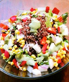Southwestern Salad   Gluten free, Dairy Free, and because this Vegan salad is so high in protein, I'd say Paleo too :) High Protein Vegan Recipes, Whole Food Recipes, Vegetarian Recipes, Cooking Recipes, Healthy Recipes, Vegan Meals, Vegan Protein, Mexican Recipes, Easy Recipes