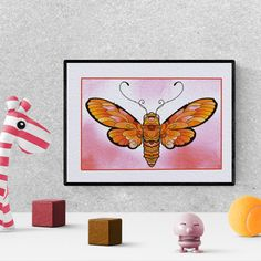Butterfly nursery decor, butterfly watercolor nursery print, moth print, baby shower gift, girl bedroom decor, printable