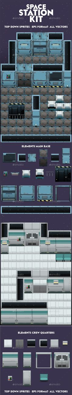 Top down sprites for a sci fi videogame. Envato exlcusive. Link: http://graphicriver.net/item/space-station-kit/11447492