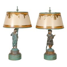 1stdibs.com | Pair of Charming French Figural Lamps with Shades
