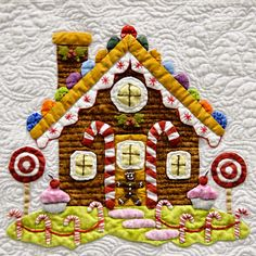 "Gingerbread house quilt block from ""Baltimore Christmas"" Applique quilt by Miriam Meier"